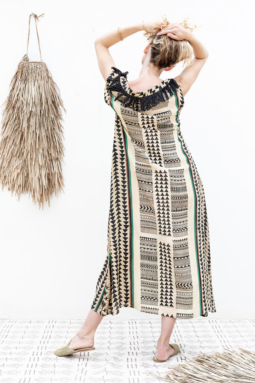 Long Silk Dress with Tribal Print