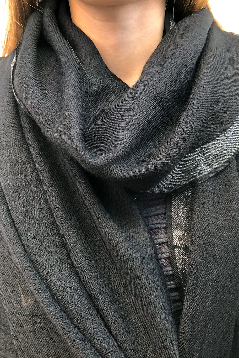 Silver Black Wool Scarf