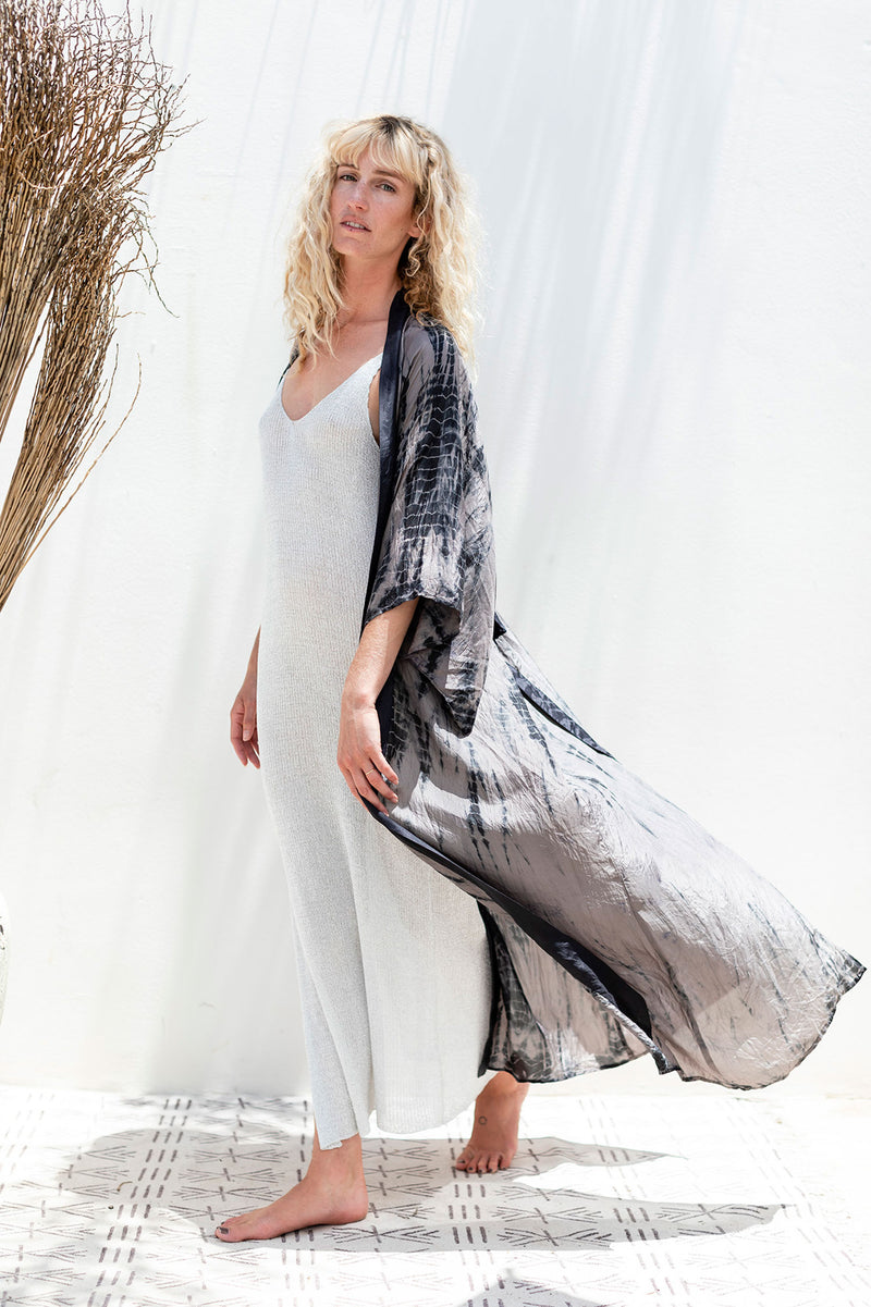 Long Silver Knit Summer Dress