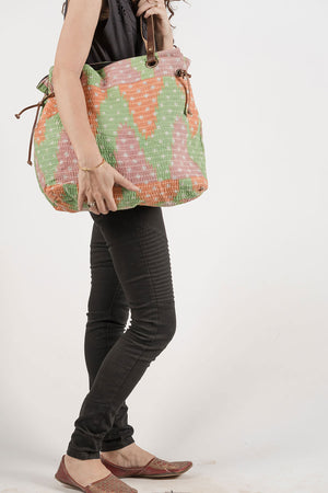 Spell Tote Shoulder Bag Pink Green Orange
