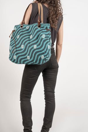 Spell Tote Shoulder Bag Turquoise Black
