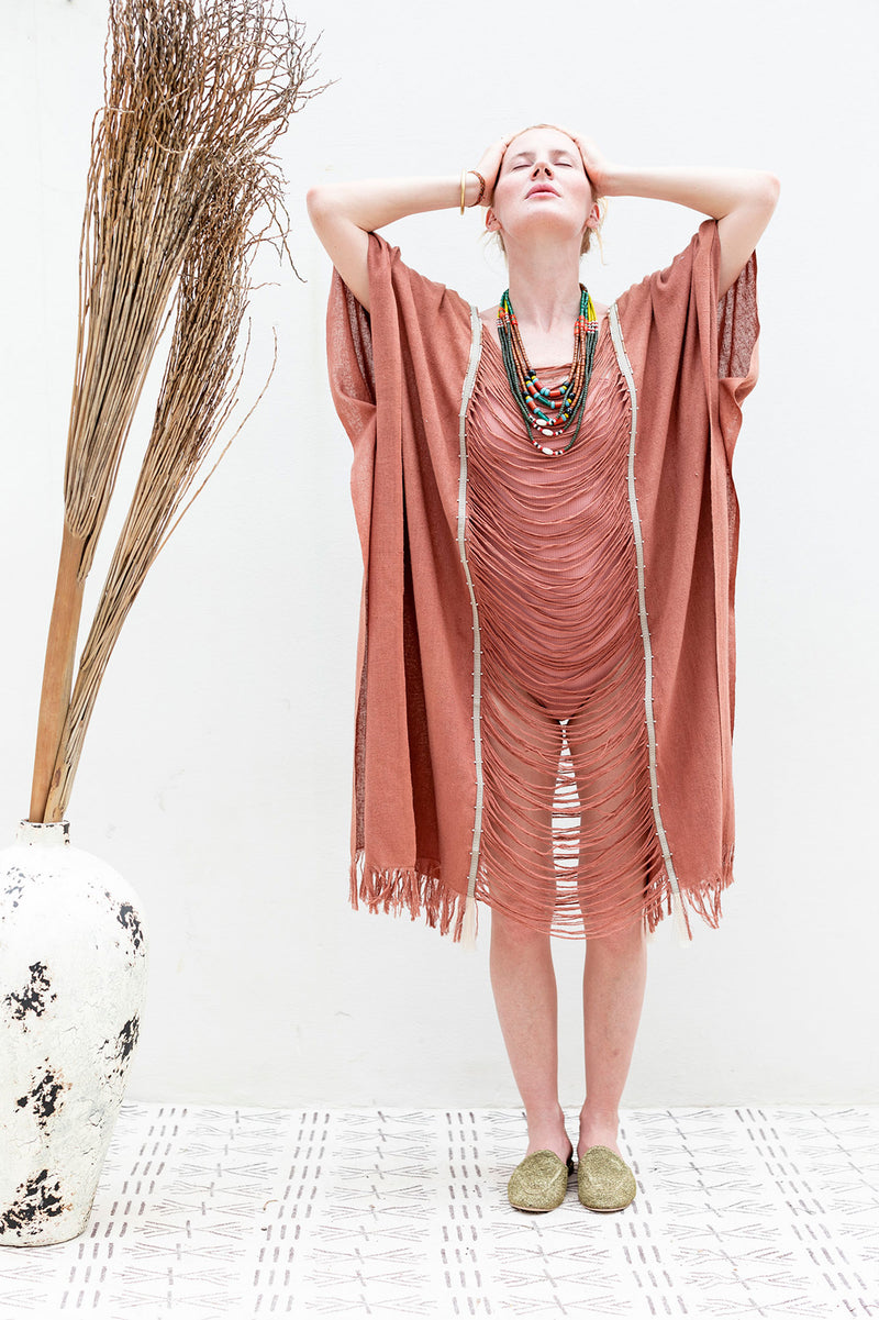 Boho Raw Silk Shredded Beach Kaftan