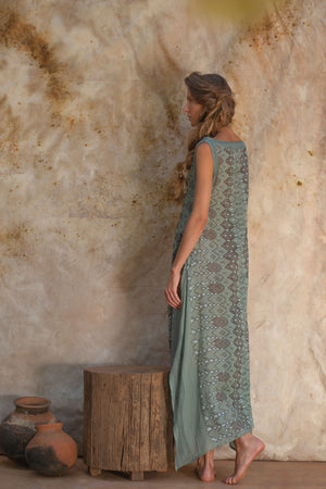 Long Teal Boho Dress for Women