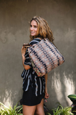 Tote Bag Kantha Fabric Hand Made With Brown Leather