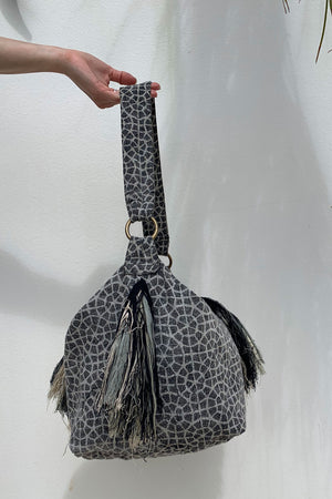 Vegan Tote Bag with Tassel Trim