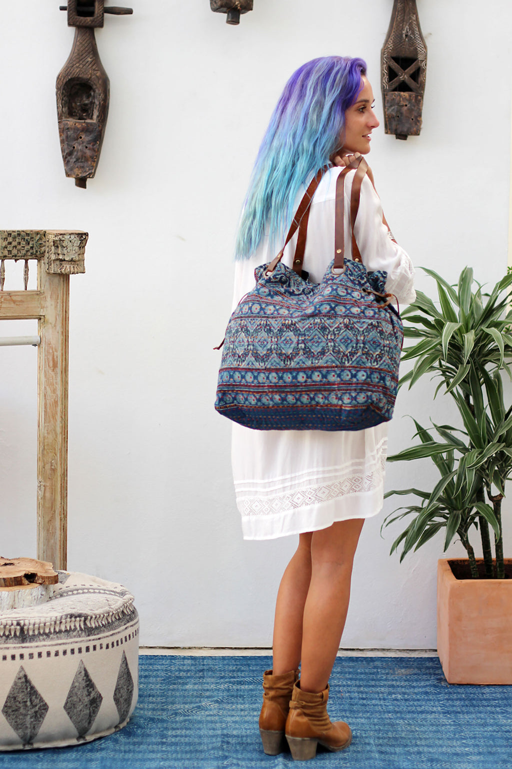 Shoulder Handbag in Indigo Block Print Kantha