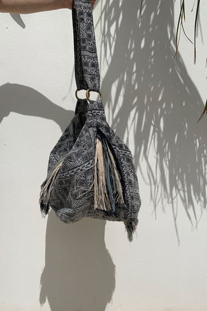 Tote Shoulder Bag Grey Tribal Fabric