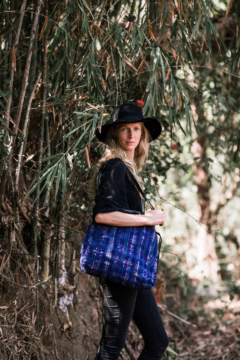 Shoulder Tote Bag from Purple Kantha Fabric