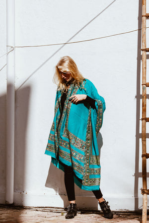 Turquoise Wool Kulu Shawl with Embroidery