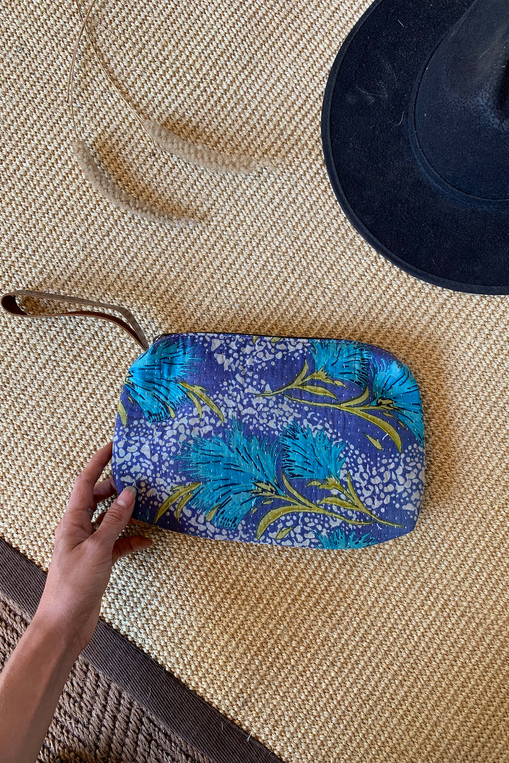 Turquoise Floral Kantha Clutch Bag