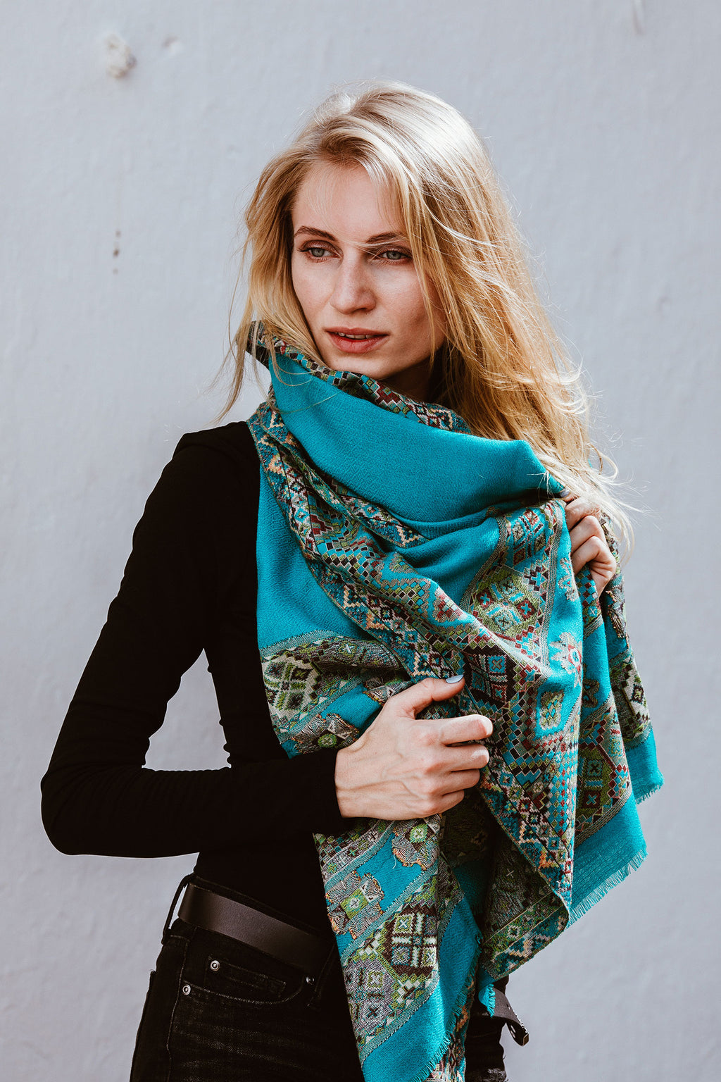 Turquoise Kulu Shawl with Embroidery