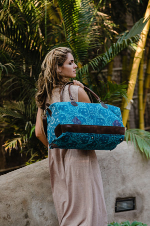 Turquoise Fabric Weekender Bag with Leather