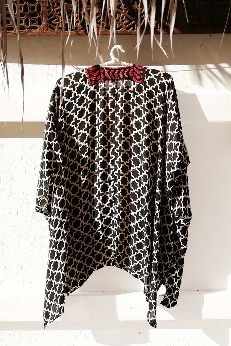 Unisex Black and White Block Printed Cape