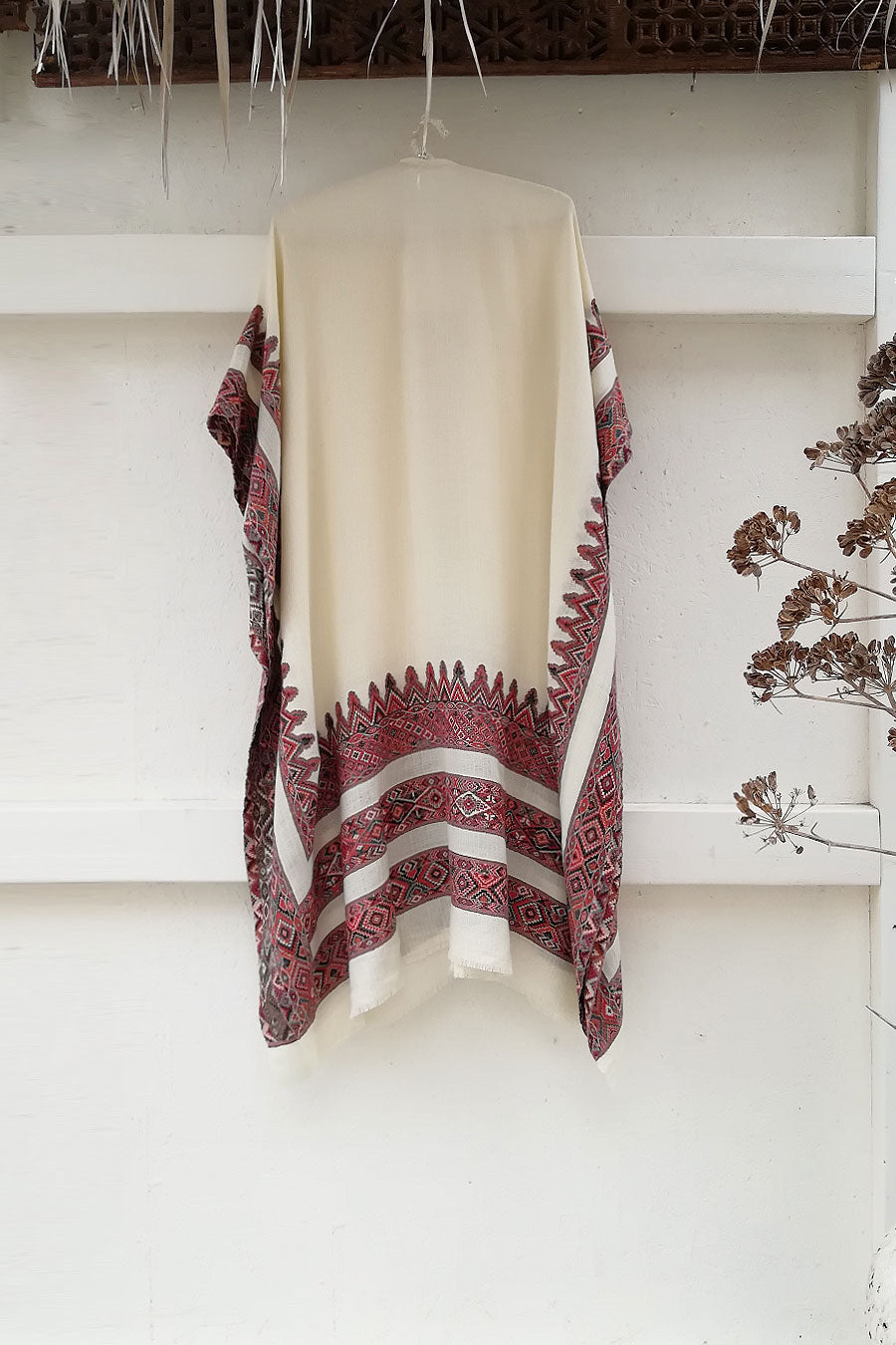 Unisex Wool Poncho in Off-White