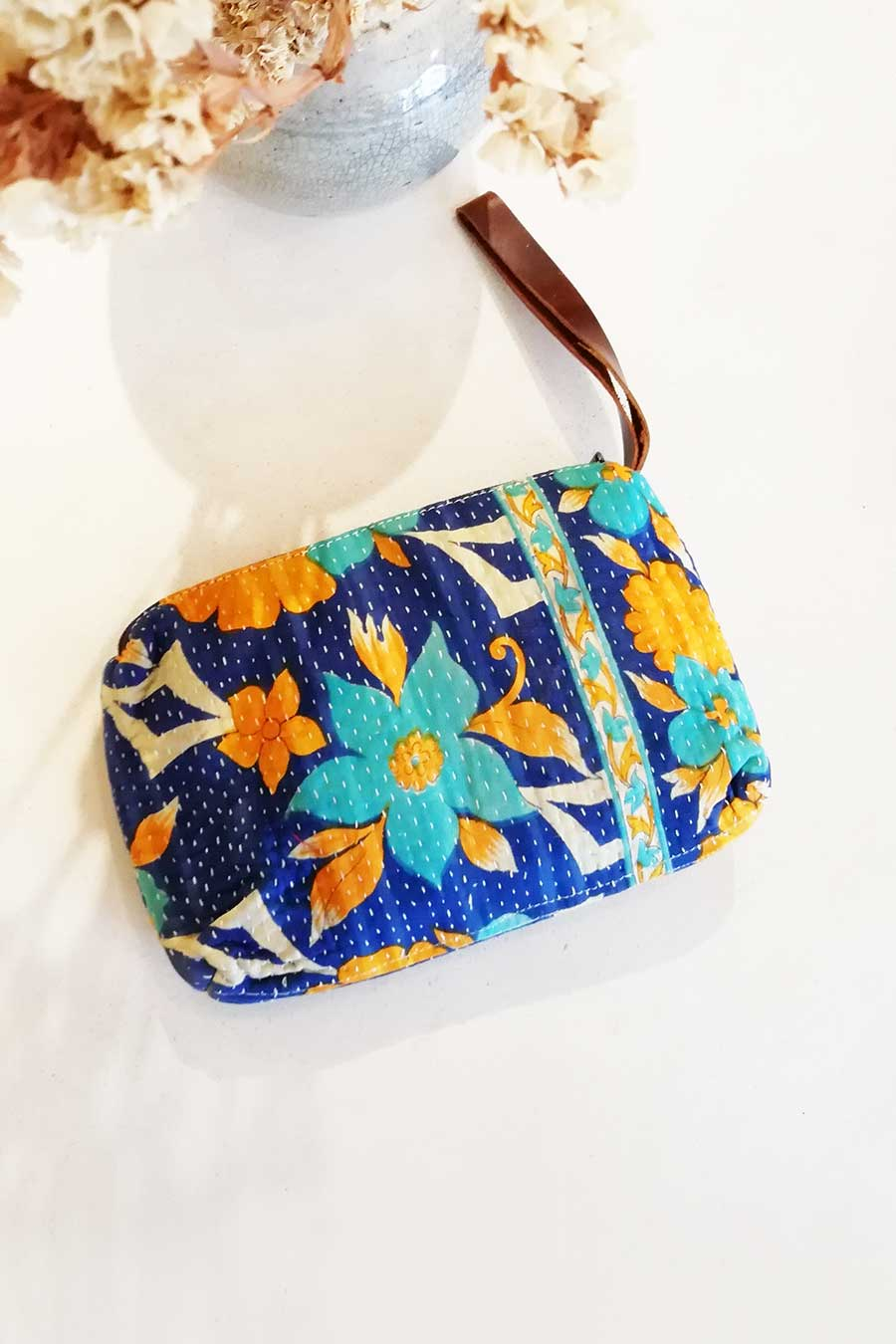 Floral Block Printed Make Up Bag