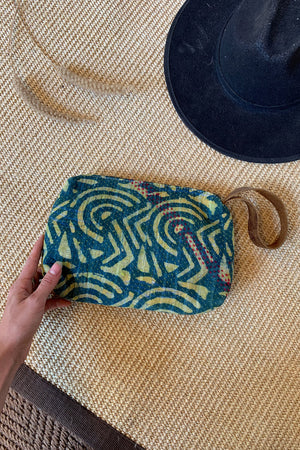 Vintage Fabric Makeup Clutch Bag with Leather Strap