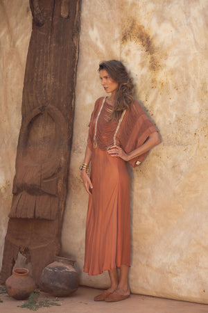 Raw Silk Crop Top in Earthy Brick Color