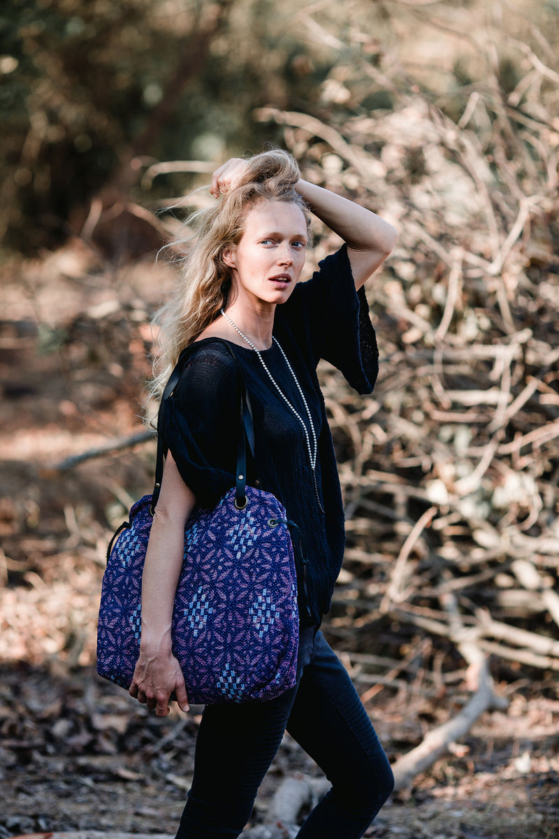 Purple and Blue Modern Bohemian Shoulder Handbag