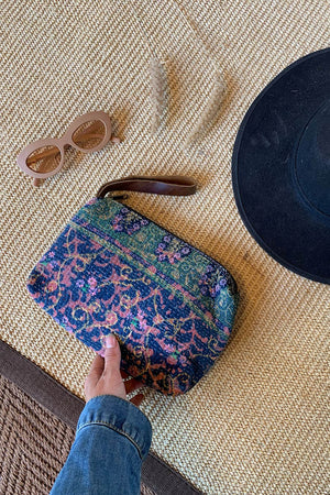 Alexander Boho Clutch in Blue Indigo and Pink Vintage Quilt