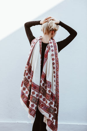 Large Boho Wool Shawl with Multicolor Embroidery