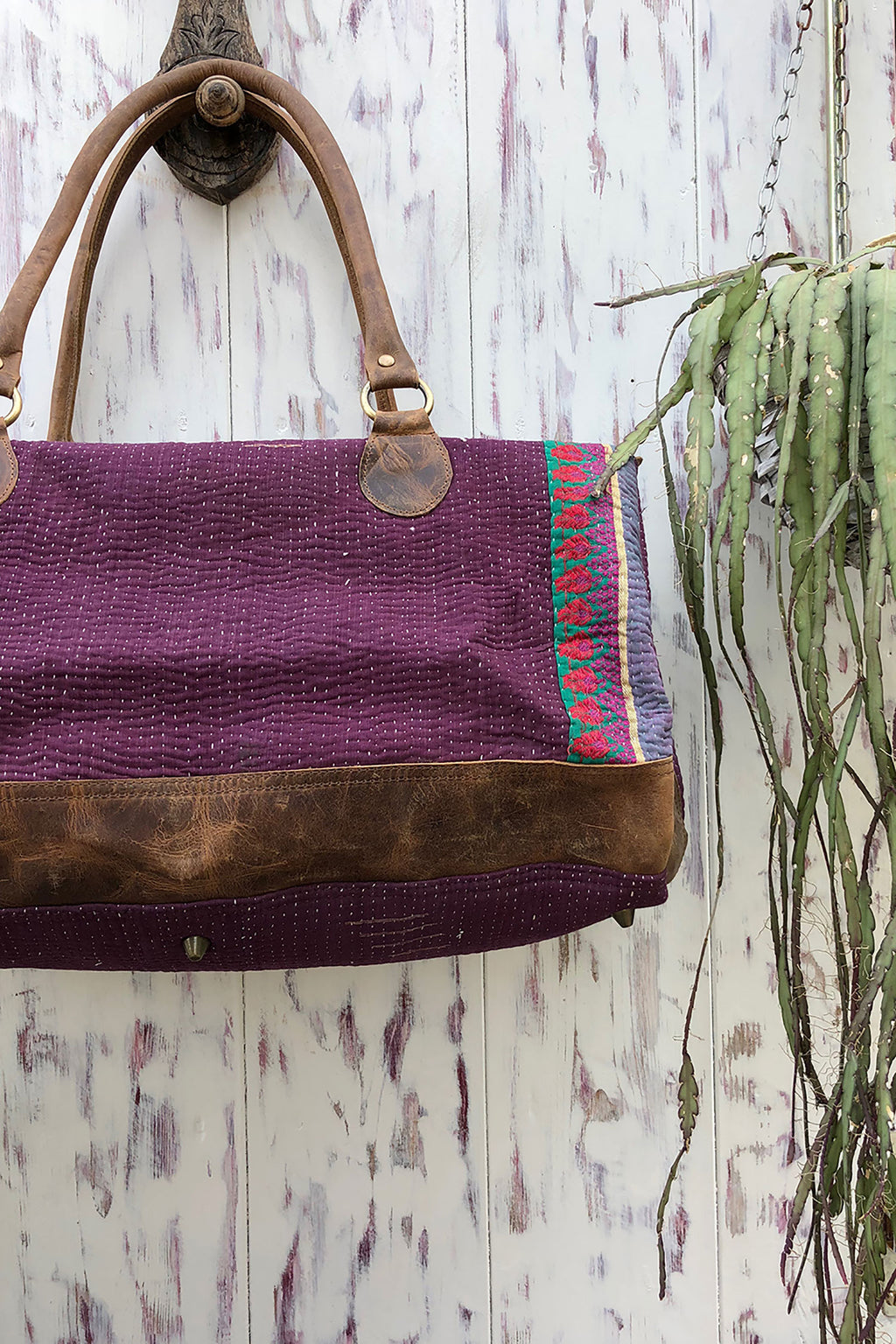 Weekender Bag with Purple Block Print Fabric
