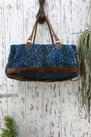 Traveller Bag in Indigo Kantha and Brown Leather