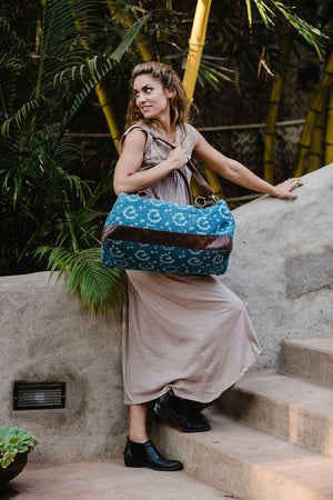 Weekender Bag in Vintage Block Print Indigo Fabric and Leather