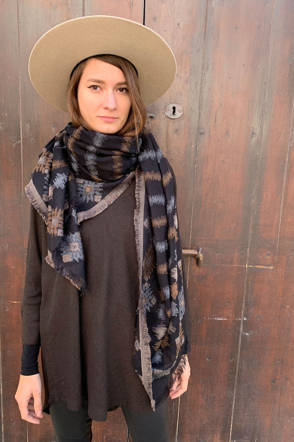 Large Big Wool Cotton Square Scarf In Black Brown and Blue