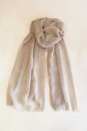 Wool and Silk Light Beige Scarf