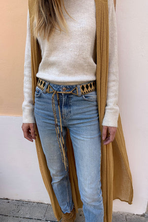 Boho Silk Belt with Brass Buckles