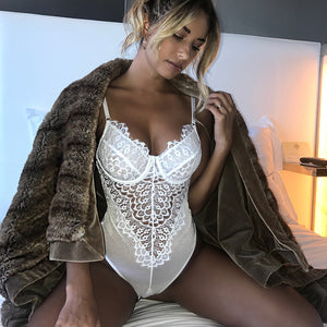 Women Sexy Underwear Lace Bodysuit White Lingerie Set