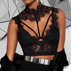 New arrival Women Fashion Lace Tops deep V-Neck Bra