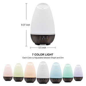 Aromatherapy Diffuser Cool Mist Humidifier - Oil Diffuser for Essential Oils: Ultrasonic Vaporizer Cool Mist with 4 Timers, 2 Misting Modes & 7 LED Light Colors - Large 500ml Capacity (White)