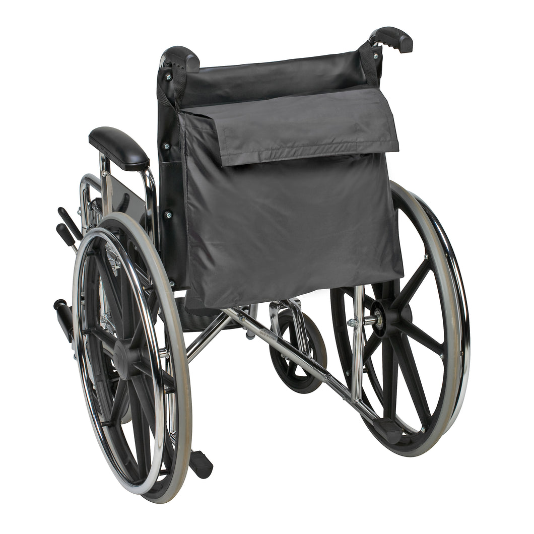 Wheelchair Bag by Duro-Med - Storage Bag for Items & Accessories - Travel Storage Tote & Backpack w/ Easy Access Pouch & Pockets, Black