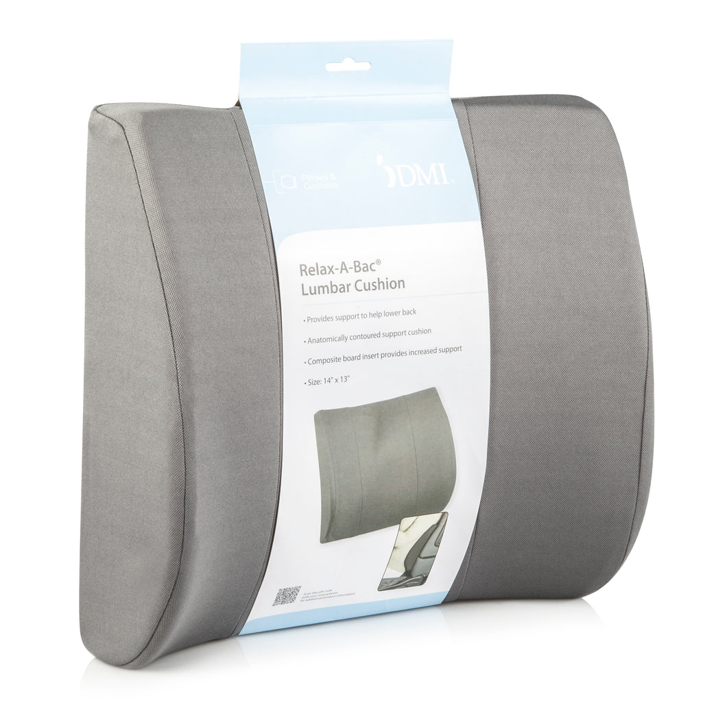 DMI Relax-A-Bac, Lumbar Cushion, Lower Back Support Pillow With Wooden Lumbar Support Board and Alignment Strap, Grey