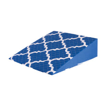 HealthSmart Premium Foam Bed Wedge Pillow with Spill-Resistant Cover, Blue Moroccan, 7 X 24 X 24 inches