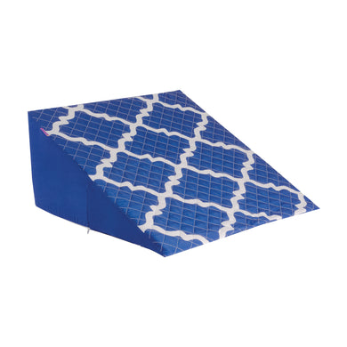 HealthSmart Premium Foam Bed Wedge Pillow with Spill-Resistant Cover, Blue Moroccan, 12 X 24 X 24 inches