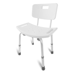 DMI Medical Heavy-Duty Spa Bathtub Tool-Free Assembly Adjustable Height Shower Chair Bath Seat Bench with Back, White