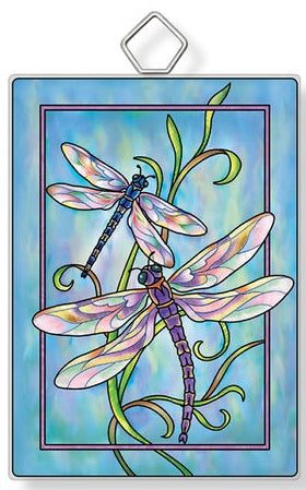 Contemporary Dragonflies Rectangle Sun Catcher with Easel