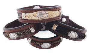 Tooled Leather Equine Head Horse Hair Bracelet