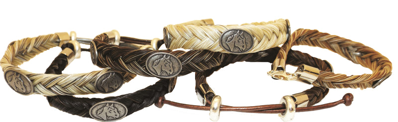 Braided Horse Hair Bracelet with Horse Concho