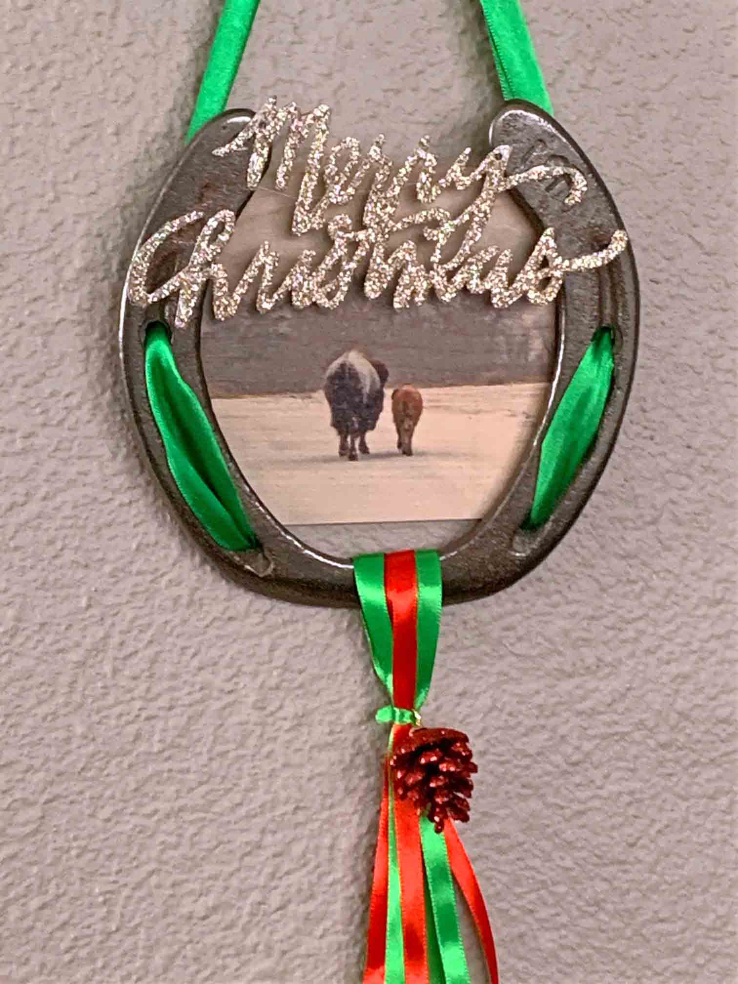 Bison Christmas Decorated Horse Shoe Chasing Horses