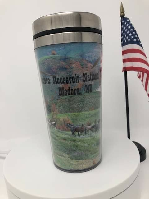 ND Badlands and Horses 16 oz  Travel Mug