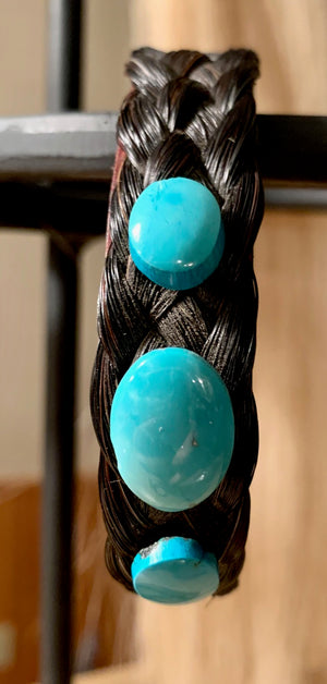 Wide Leather Turquoise Oval Bracelet