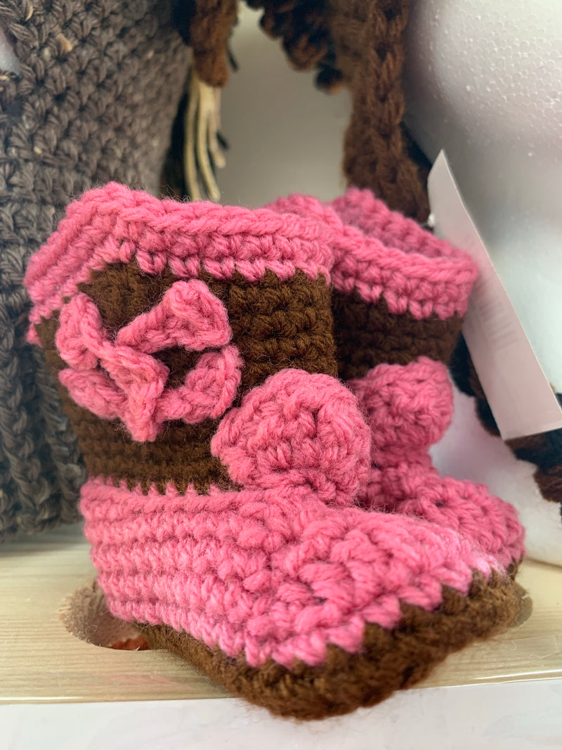 Kids crocheted cowboy booties