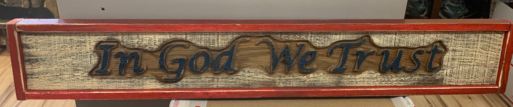 Artist Mike Piroutek In God We Trust sign