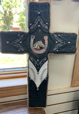 Local Artist L & J Re-Creations Small Cross with Horse and Horse shoe
