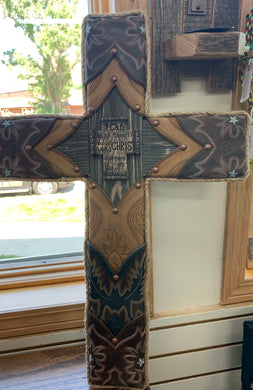 Local Artist L & J Re-Creations Large Brown Cross with Philippians Quote
