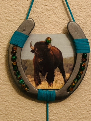 Majestic Bison Decorated Horse Shoe