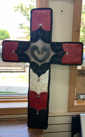 Local Artist L & J Re-Creations Large Black & Red Cross with Heart Shaped Horse Shoe